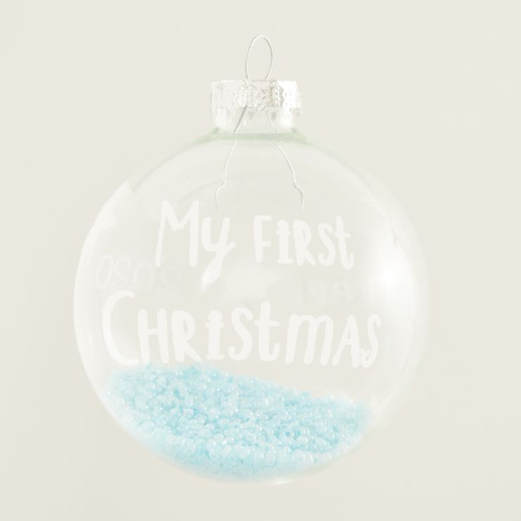 Personalised My 1st Christmas Glass Bauble with Blue Beads