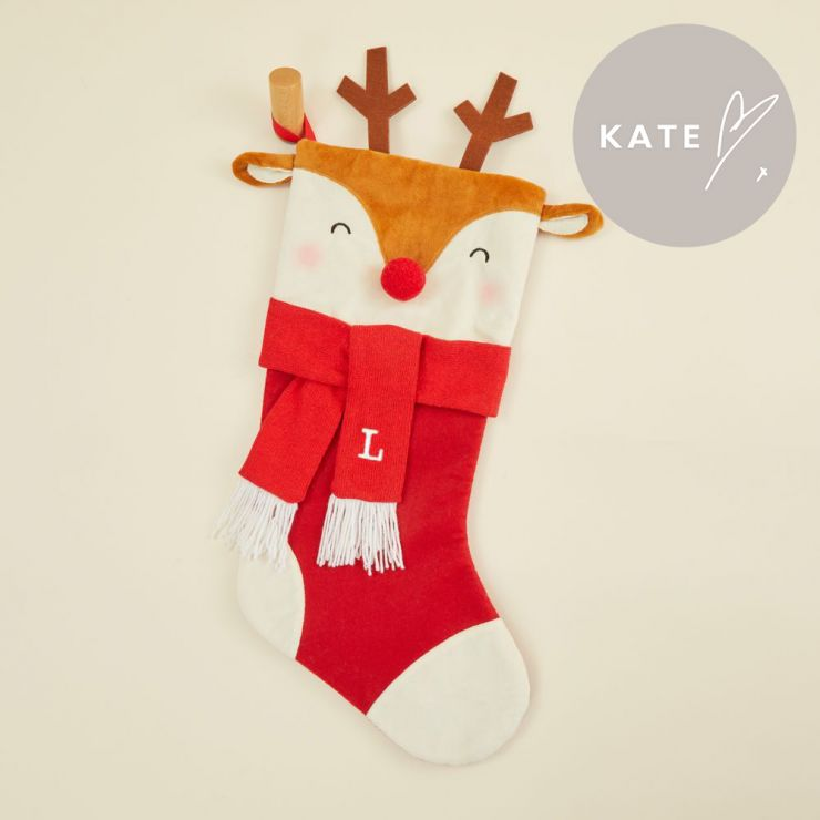 Personalised Medium Reindeer Face Stocking