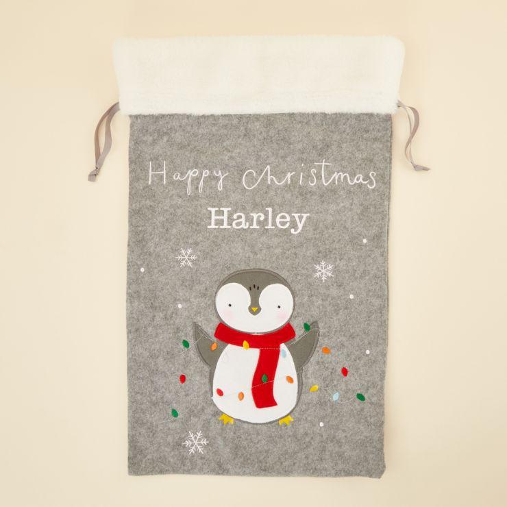 Personalized Fur Top Penguin Christmas Sack