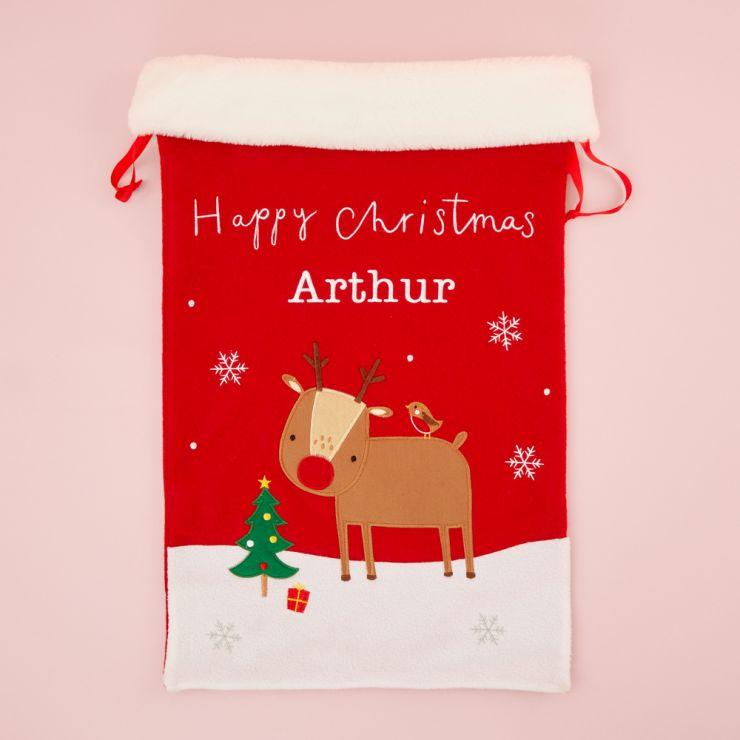 Personalized Fur Top Reindeer Christmas Sack