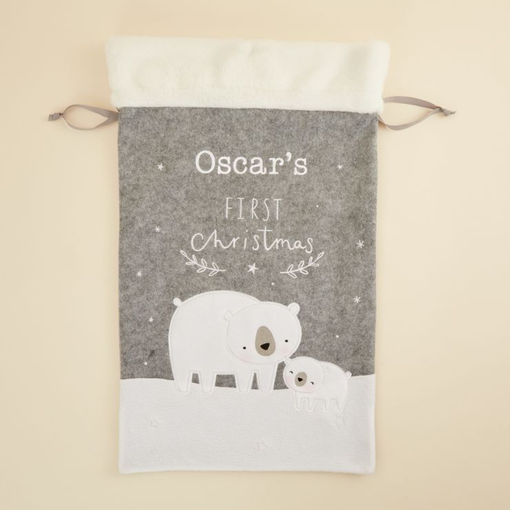 Personalized Fur Top 1st Christmas Sack