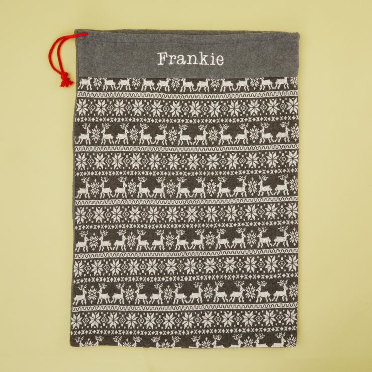 Personalised Grey Fairisle Christmas Sack