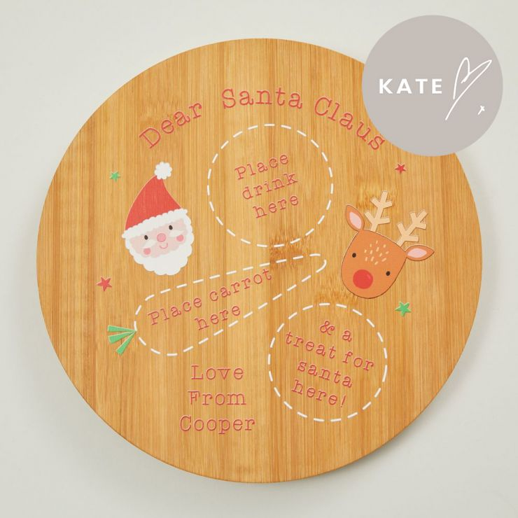 Personalised Christmas Eve Wooden Board for Santa