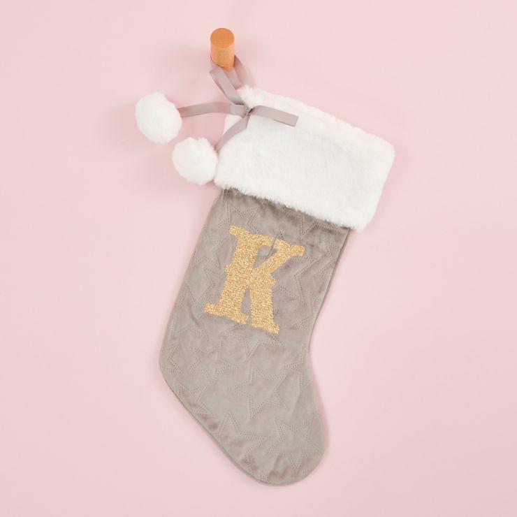 Personalized Embossed Gray Velvet Stocking