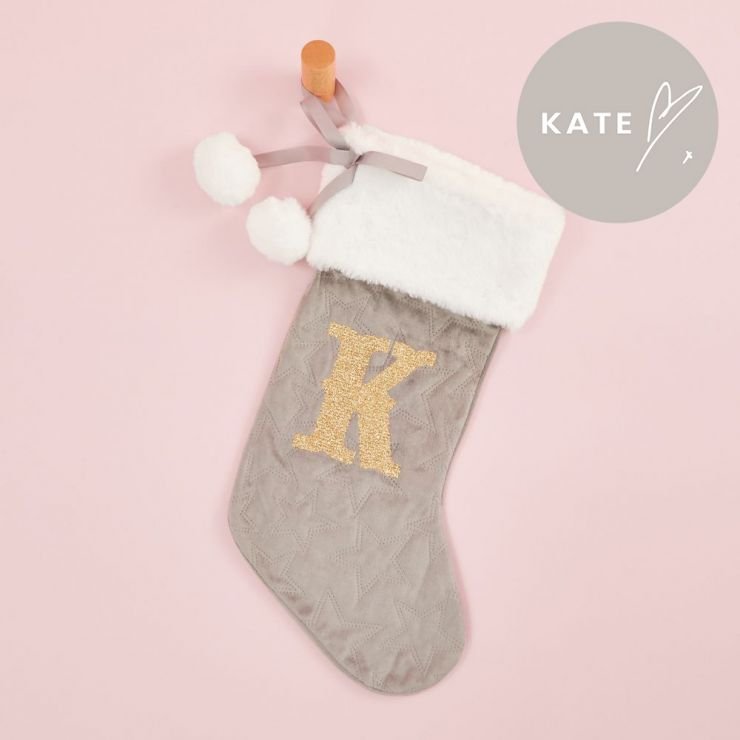 Personalised Embossed Grey Velvet Stocking