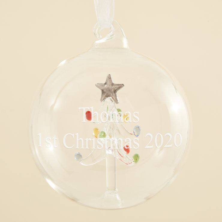 Personalized Glass Christmas Tree Bauble