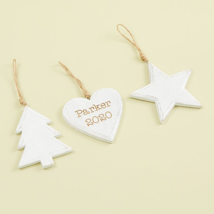 Personalised Set of 3 White Wooden Tree Decorations