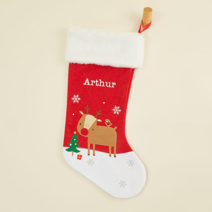 Personalized Medium Fur Top Reindeer Stocking