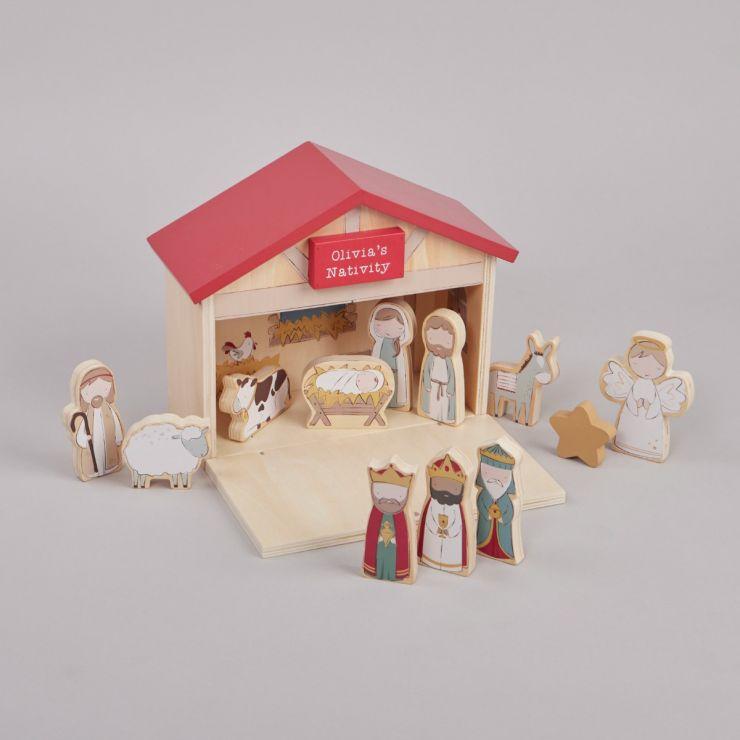 Personalised Wooden Children's Nativity Set