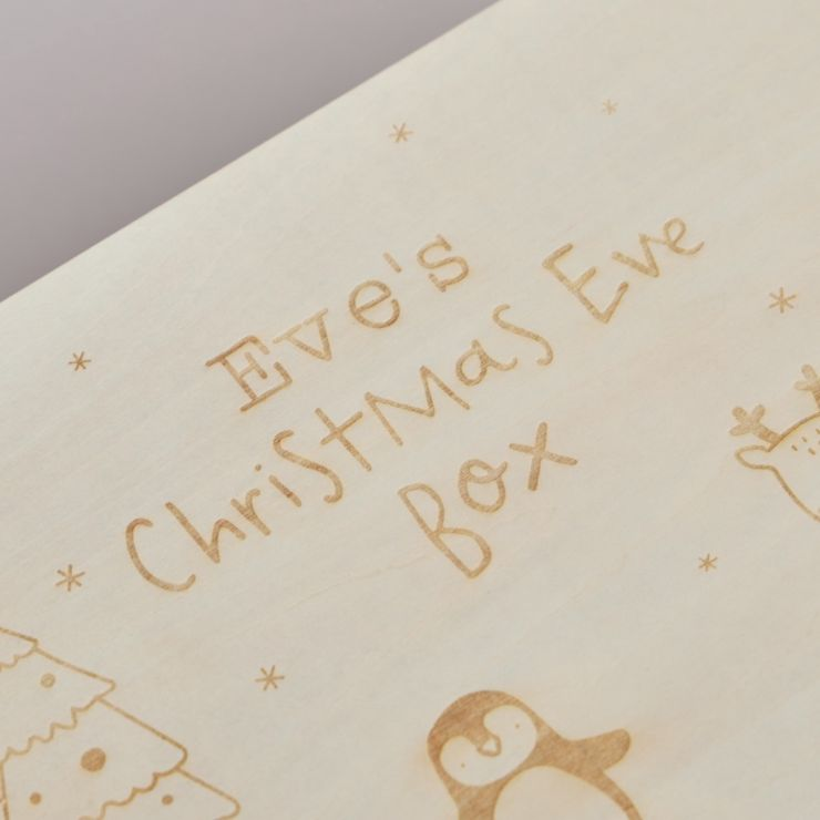 Personalised Wooden Penguin Christmas Eve Box