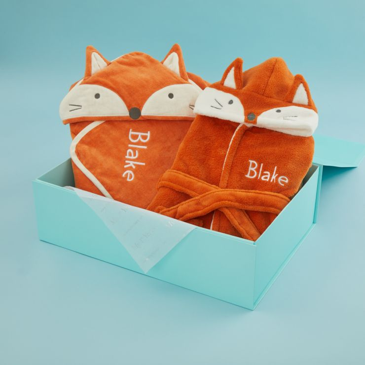 Personalized Fox Robe and Hooded Towel Gift Set