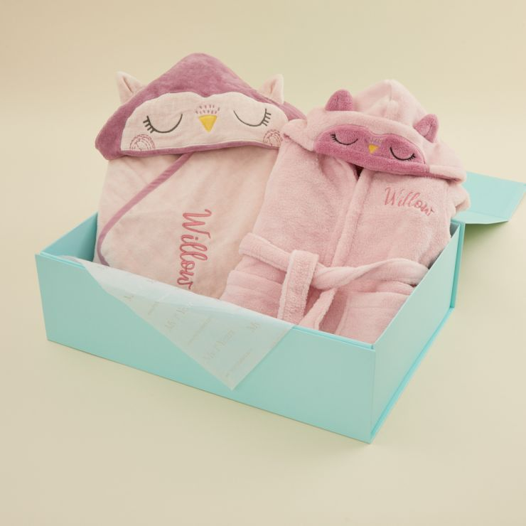 Personalized Pink Owl Robe and Hooded Towel Set