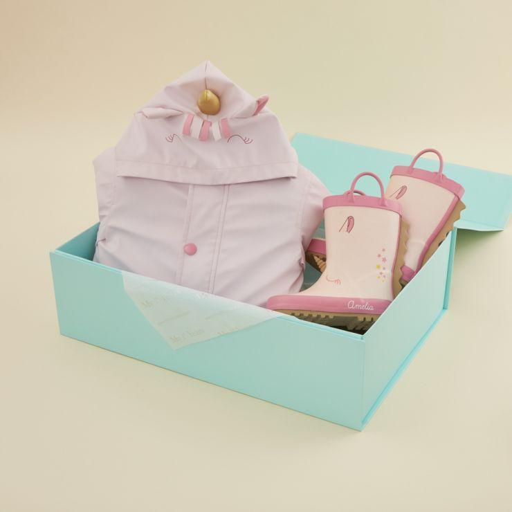 Personalized Little Unicorn Rain Coat and Wellies Gift Set