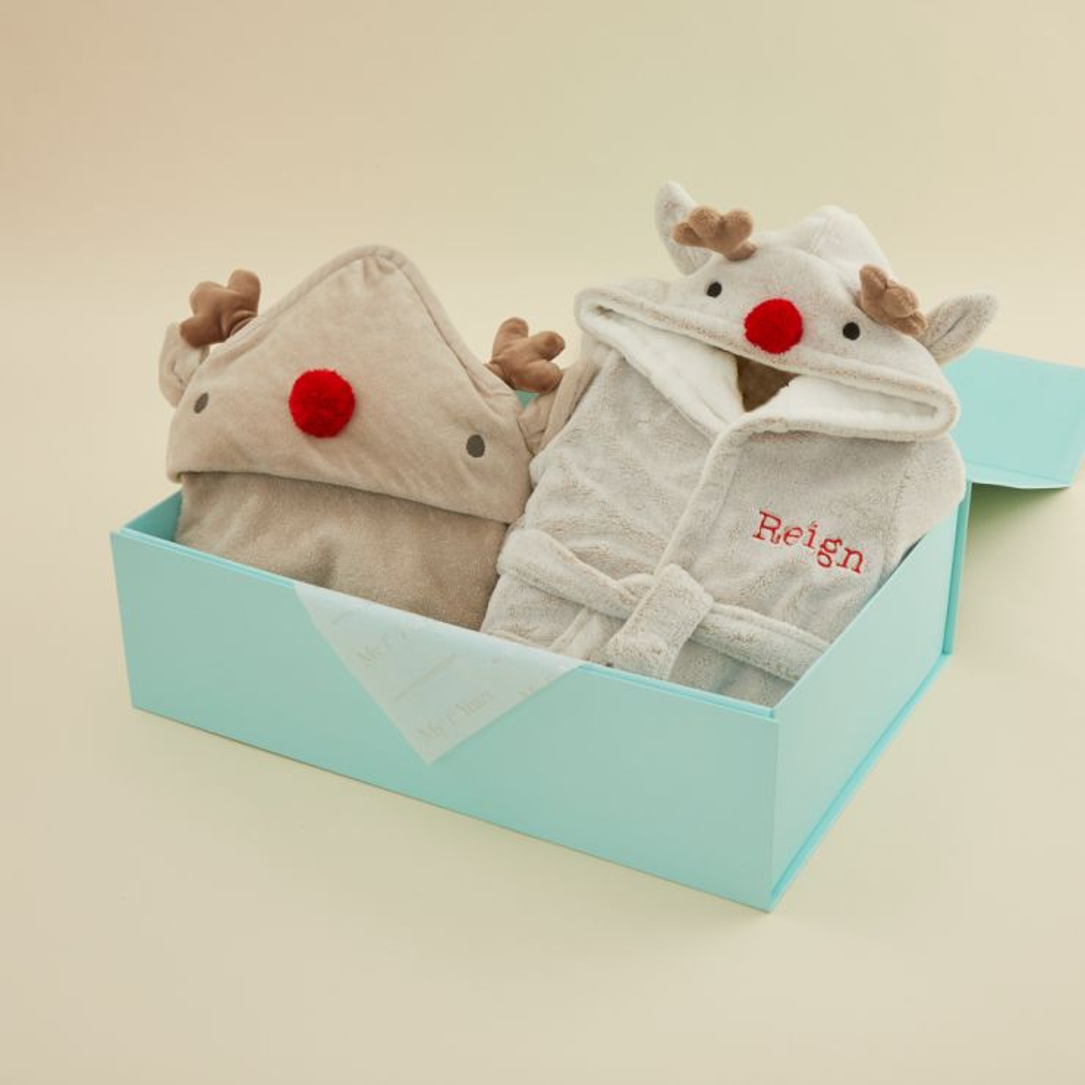 Personalised Reindeer Robe and Hooded Towel Gift Set
