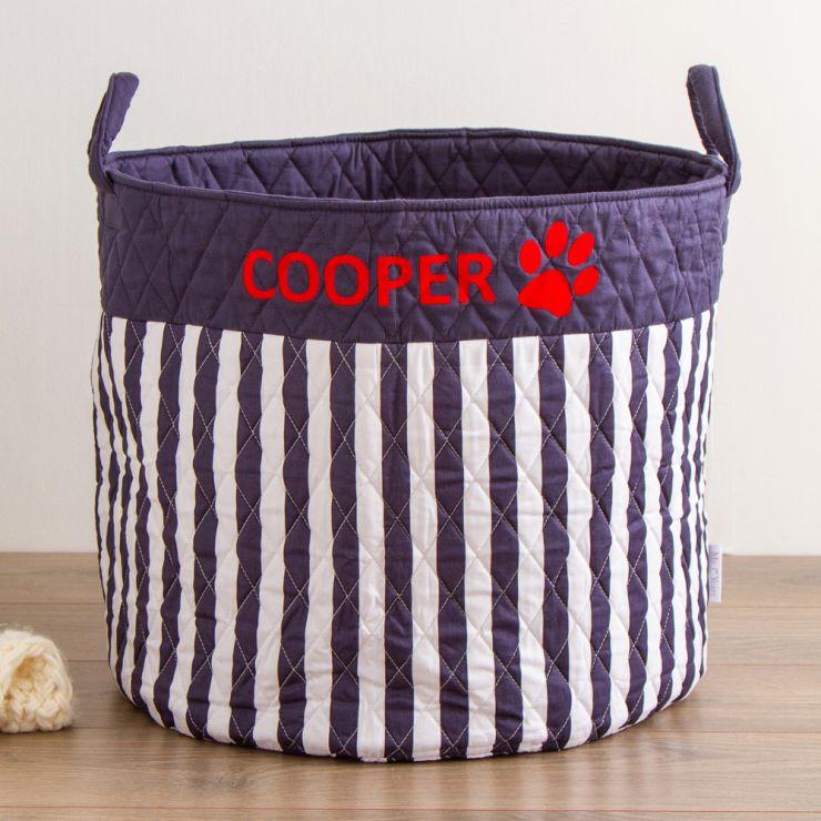 Personalised Large Navy Striped Pets Storage Bag