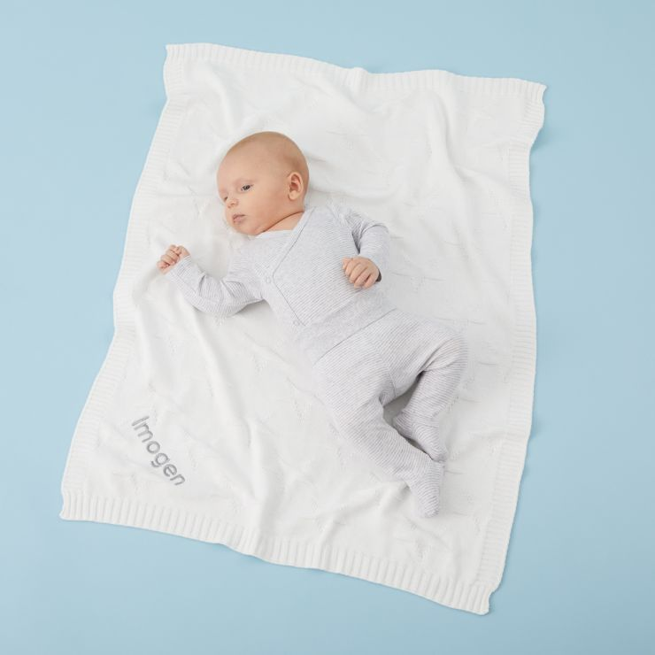 Personalised Ivory Star Jacquard Blanket