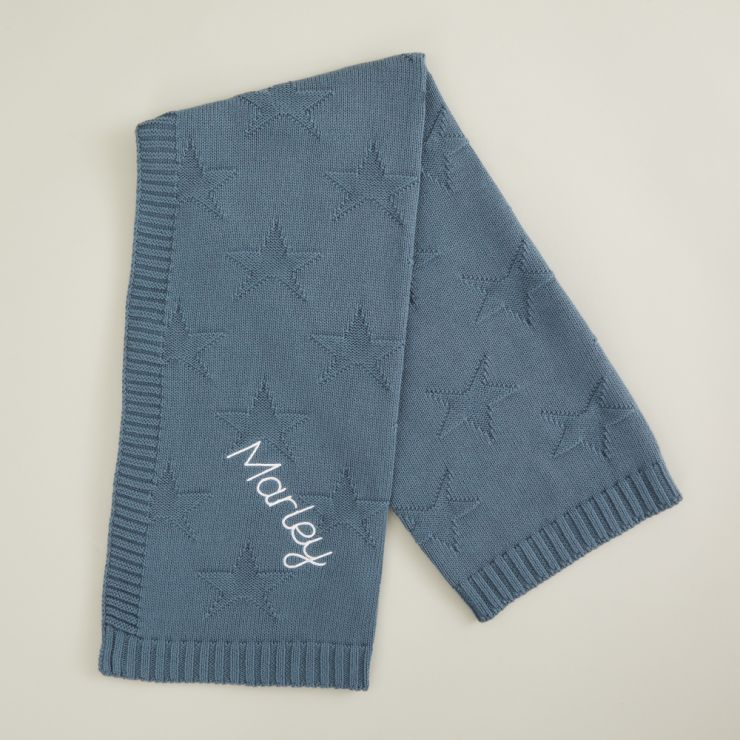 Personalized Blue Star Jacquard Blanket