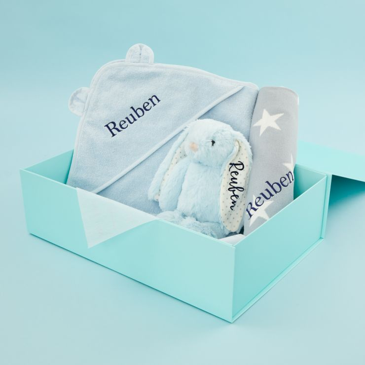 Personalized New Baby Essentials Gift Set - Blue
