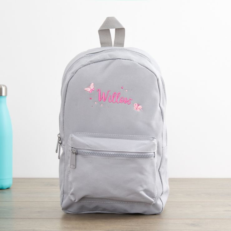 Personalized Gray Butterfly Design Infant Backpack