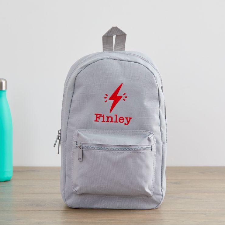 Personalized Gray Lightning Bolt Design Backpack