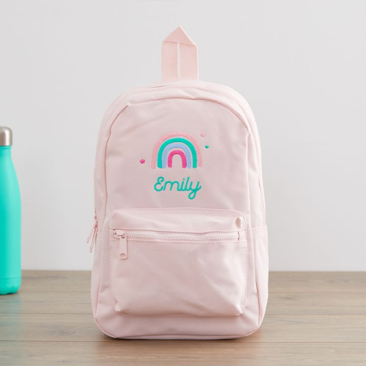 Personalized Pink Rainbow Design Backpack