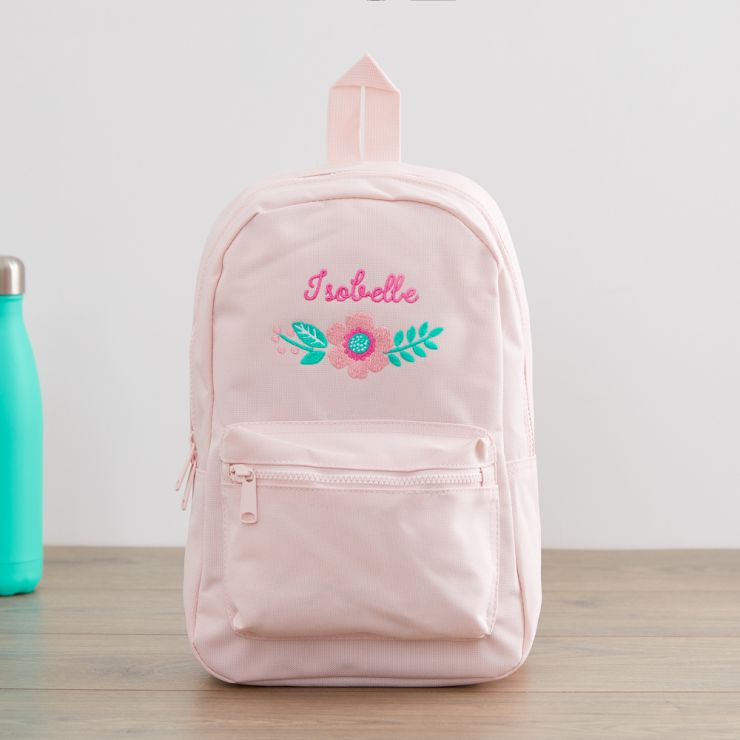 Personalized Pink Flower Design Backpack