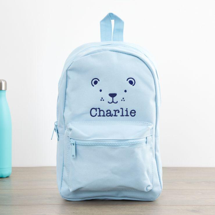 Personalised Blue Bear Design Infant Backpack