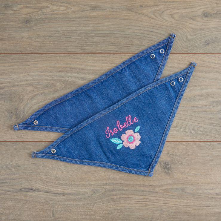 Personalised Floral Design Denim Bandana Bibs (2pk)