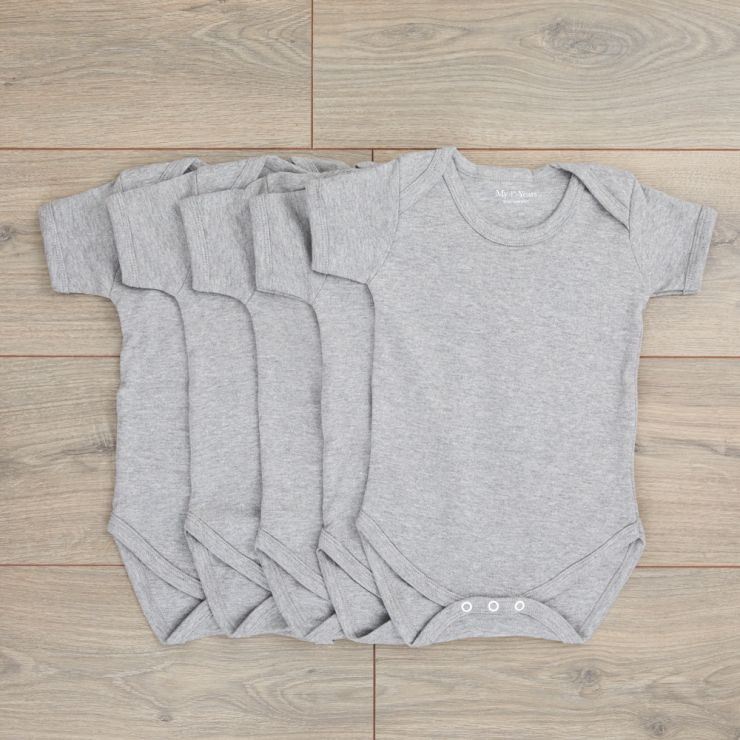 Pack of 5 Grey Bodysuits