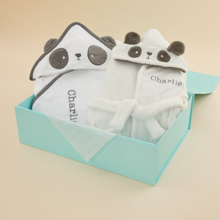 Personalised Monochrome Panda Hooded Towel & Robe Gift Set