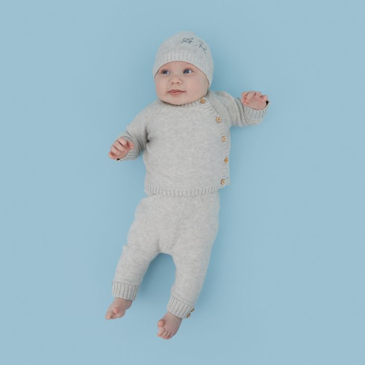 Personalized Gray Knitted Baby Outfit Set (3 piece)