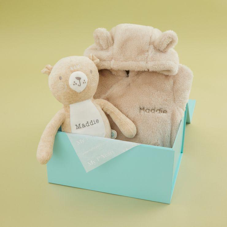 Personalized Neutrals Pram Suit & Bear Gift Set