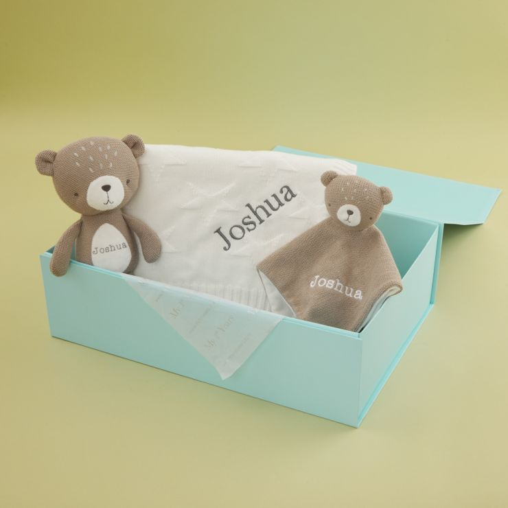 Personalised Baby Bear and Soft Toy Gift Set