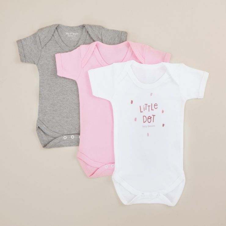 Personalised Pack of 3 Bodysuits with Pink Little Dot Design