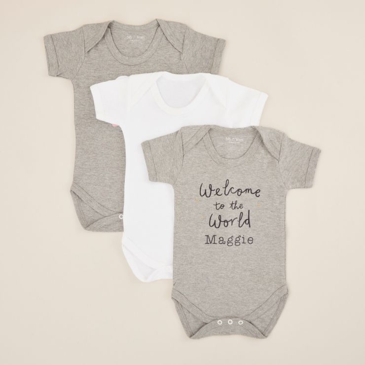 Personalized Welcome To The World 3 Pack Bodysuits
