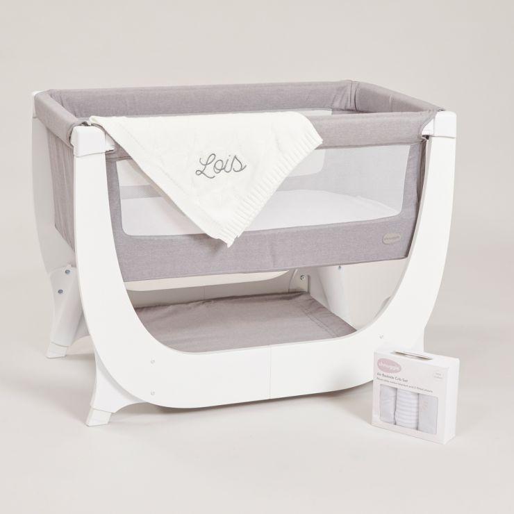 Personalised Shnuggle Air Bedside Crib Set and Blanket Gift Set