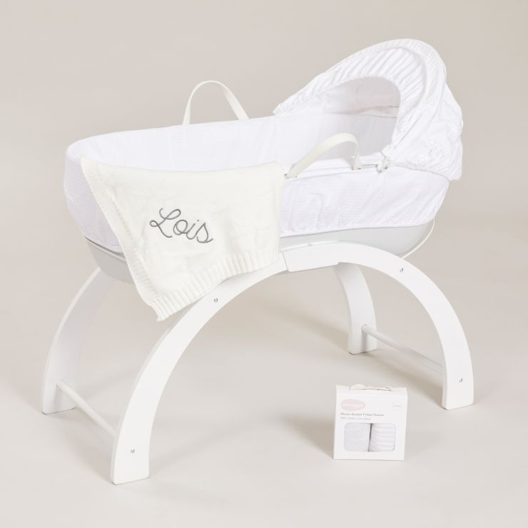 Personalised Shnuggle Classic Moses Basket and Blanket Gift Set