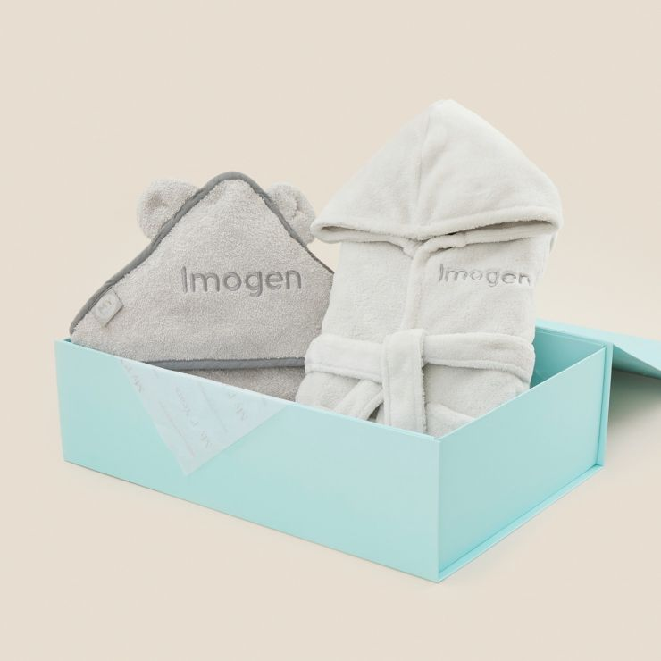 Personalized Splash and Snuggles Gift Set - Gray