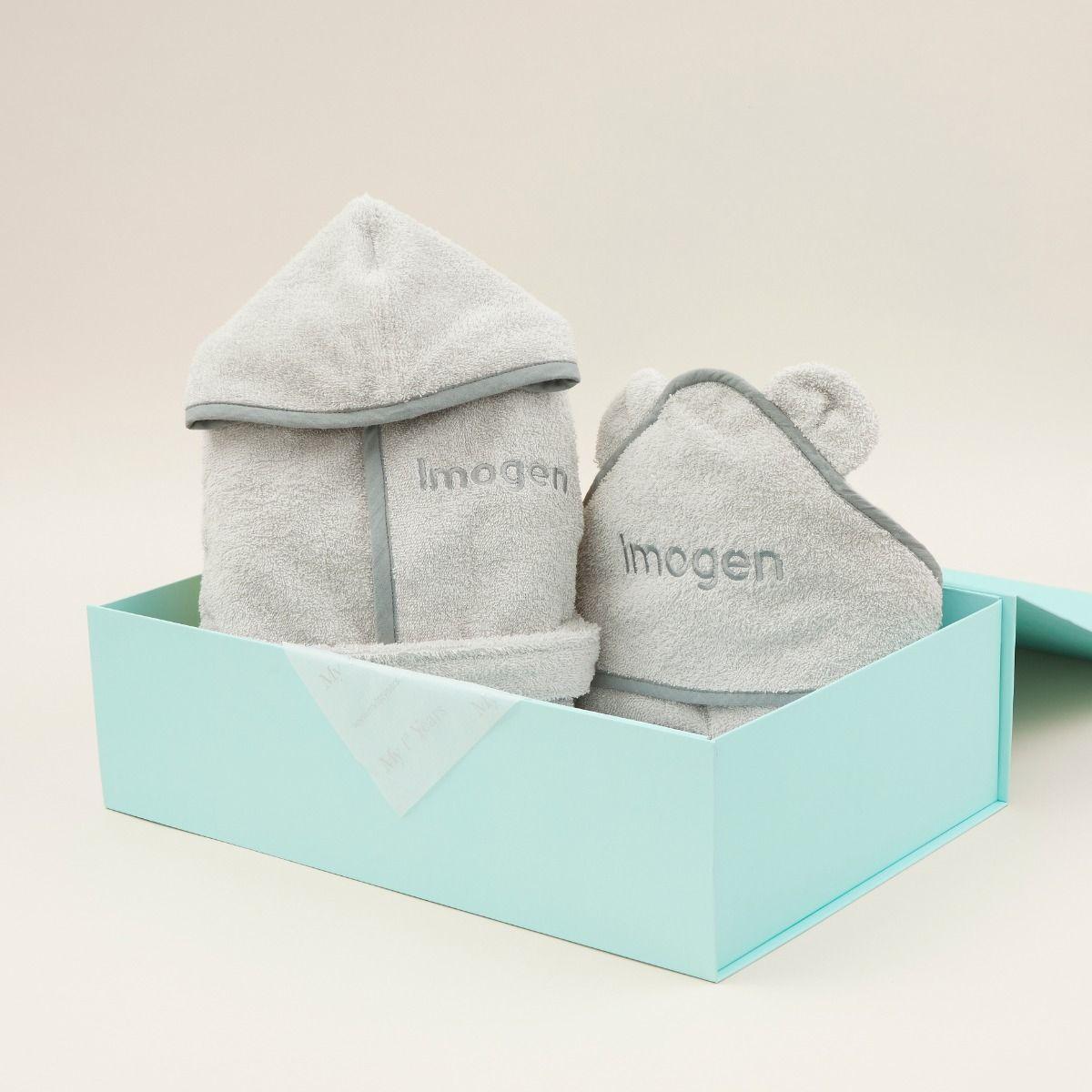 Personalised Grey Splash & Snuggle Gift Set