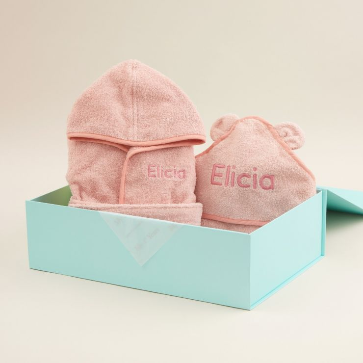 Personalised Splash and Snuggles Pink Gift Set
