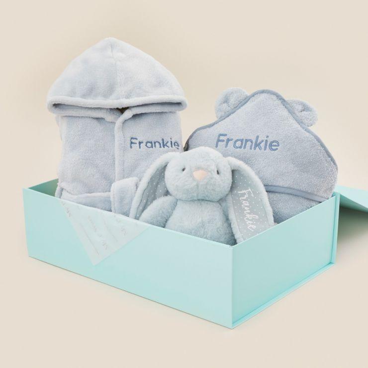 Personalised Blue Splash, Snuggle & Cuddle Gift Set