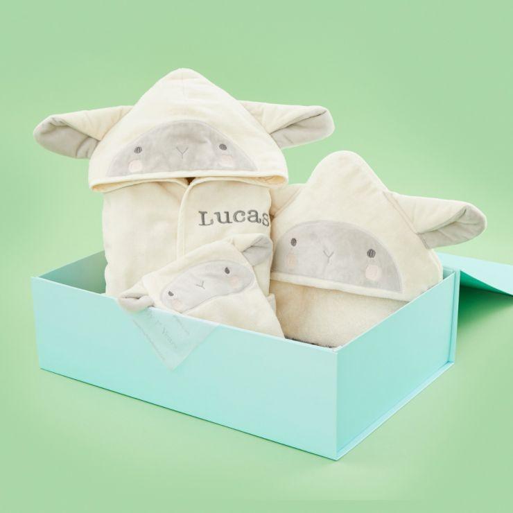 Personalised Little Lamb Bath Time Gift Set