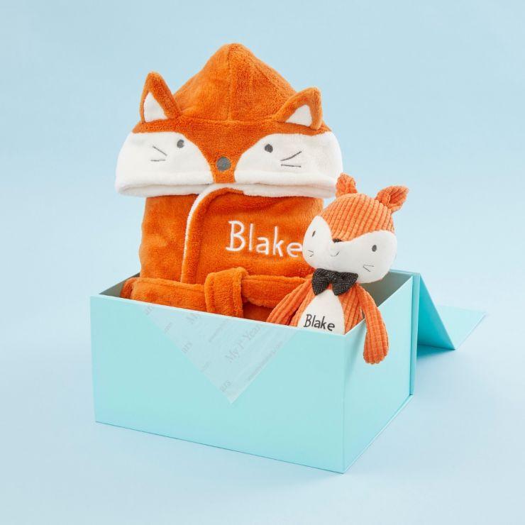 Personalized Mr Fox Stuffed Animal and Robe Gift Set