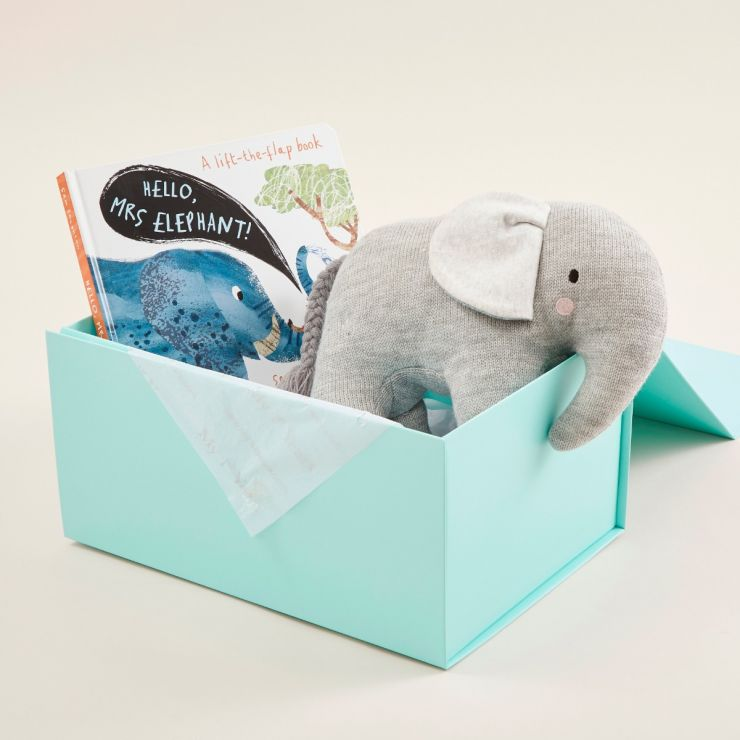 Personalised Hello! Mrs Elephant Board Book and Knitted Elephant Soft Toy Gift Set
