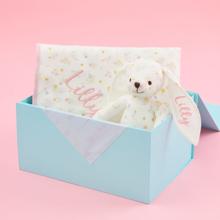 Personalised Floral Print Bunny & Blanket Organic Baby Gift Set