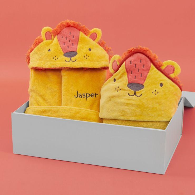 Personalised Little Lion Splash & Snuggle Gift Set