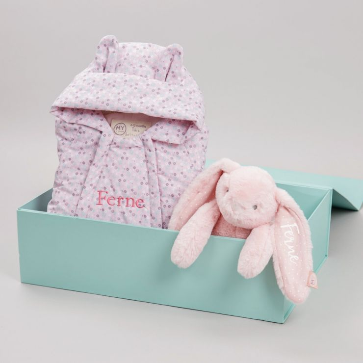 Personalised Baby Bunny Snowsuit Gift Set