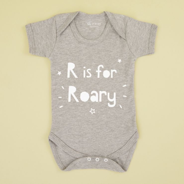 Personalized Gray 'Letter' is for 'Name' Bodysuit