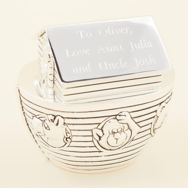 Personalised Noah's Ark Silver Money Box Personalisation