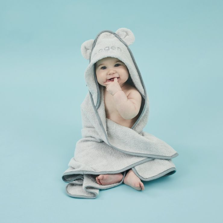 Personalised Small Grey Hooded Towel